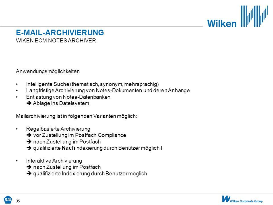 E-mail-archivierung Wiken ecm Notes archiver Anwendungsmöglichkeiten