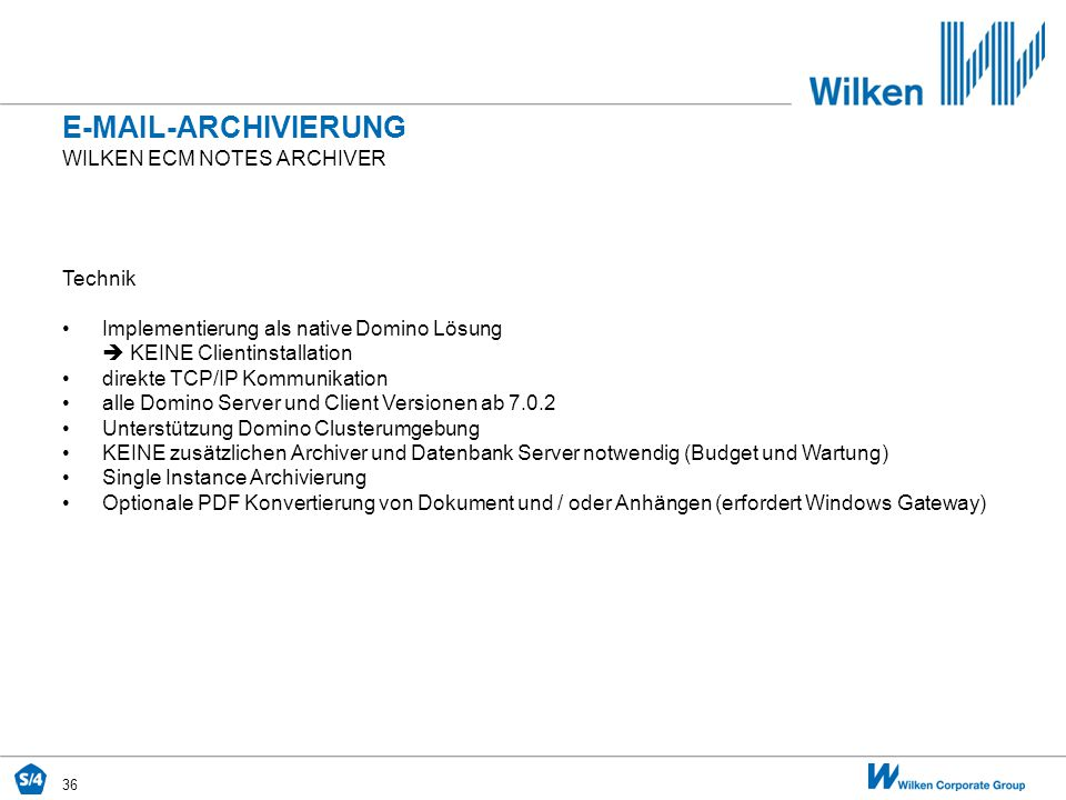 E-Mail-archivierung Wilken ecm Notes archiver Technik