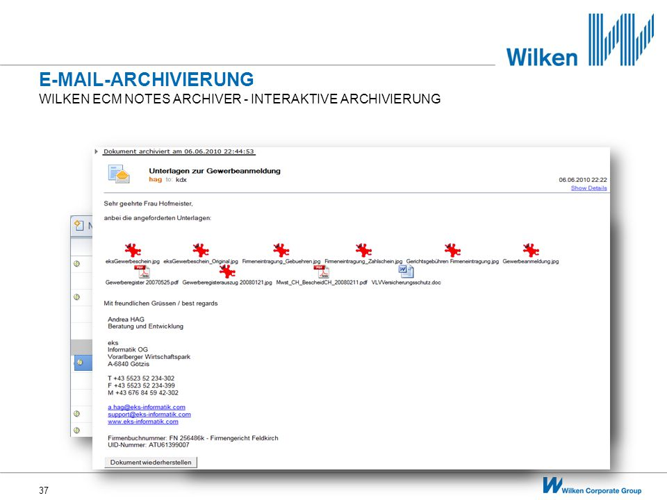 E-Mail-archivierung Wilken ecm Notes archiver - Interaktive archivierung
