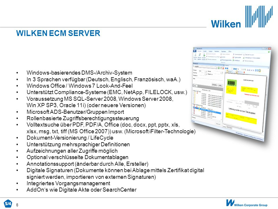 Wilken ecm SERVER Windows-basierendes DMS-/Archiv-System
