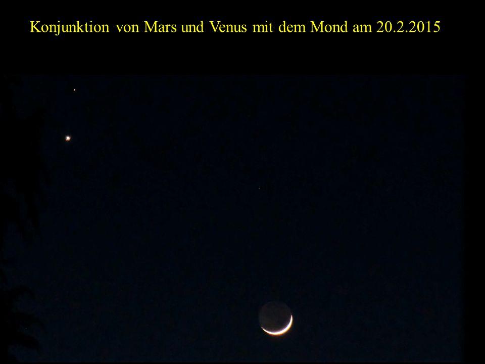 Konjunktion von Mars und Venus mit dem Mond am 20.2.2015