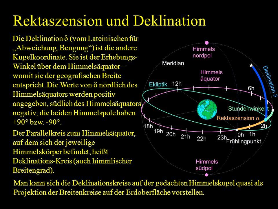 Rektaszension und Deklination