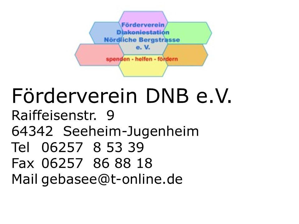 Förderverein DNB e.V. Raiffeisenstr. 9 64342 Seeheim-Jugenheim