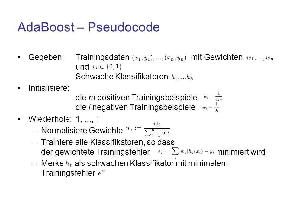 AdaBoost – Pseudocode Gegeben: Trainingsdaten mit Gewichten und Schwache Klassifikatoren.
