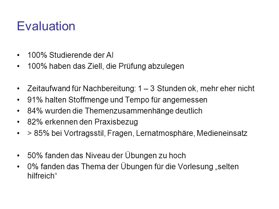 Evaluation 100% Studierende der AI
