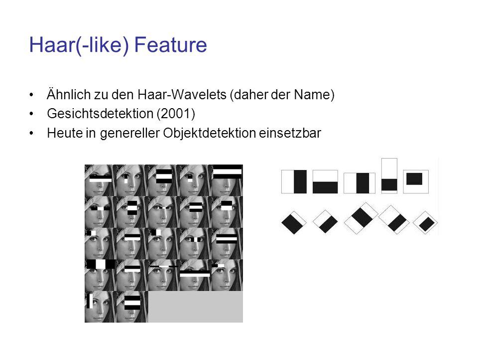 Haar(-like) Feature Ähnlich zu den Haar-Wavelets (daher der Name)