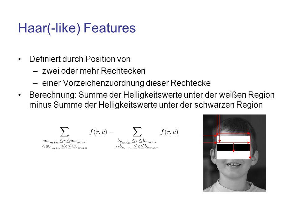 Haar(-like) Features Definiert durch Position von