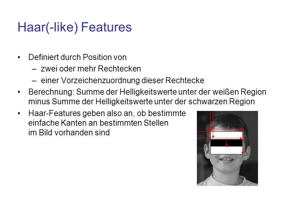 Haar(-like) Features Definiert durch Position von