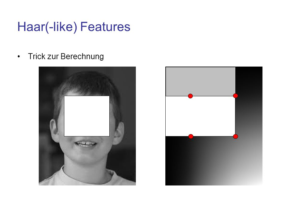 Haar(-like) Features Trick zur Berechnung