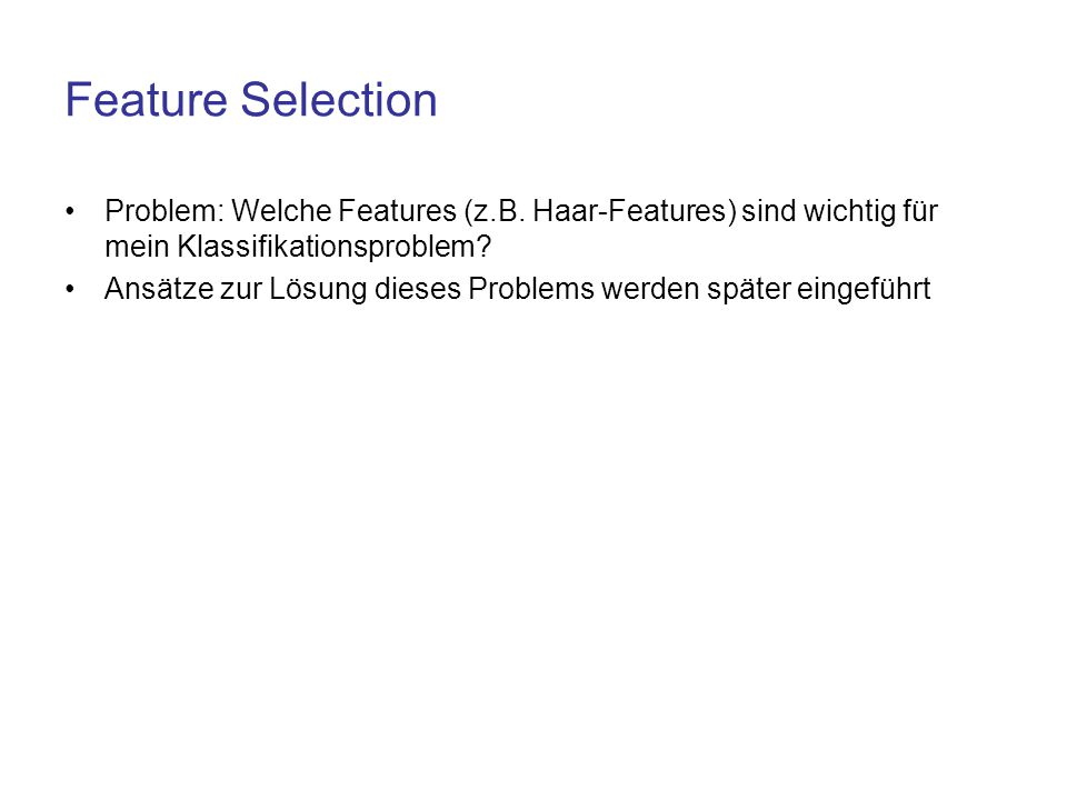 Feature Selection Problem: Welche Features (z.B. Haar-Features) sind wichtig für mein Klassifikationsproblem