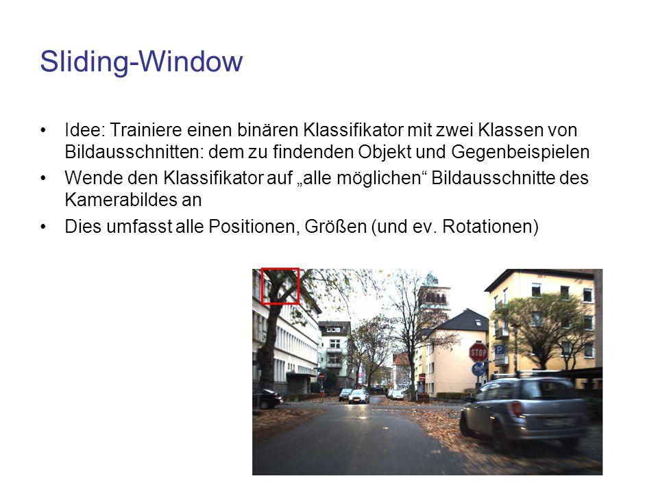 Sliding-Window Idee: Trainiere einen binären Klassifikator mit zwei Klassen von Bildausschnitten: dem zu findenden Objekt und Gegenbeispielen.