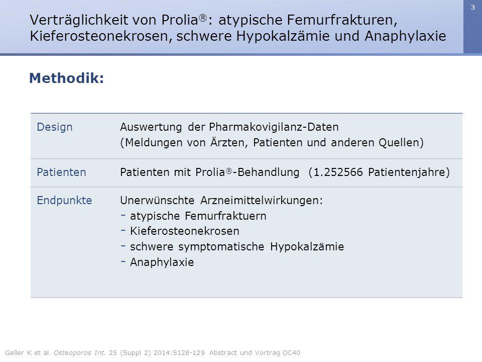 Verträglichkeit von Prolia®: atypische Femurfrakturen, Kieferosteonekrosen, schwere Hypokalzämie und Anaphylaxie