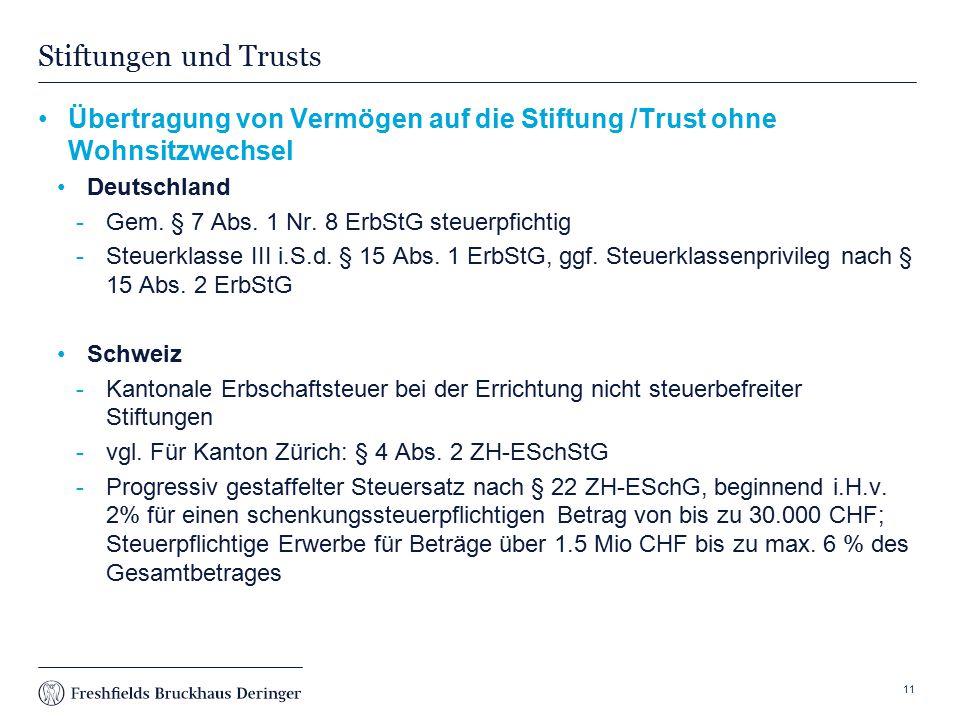 Stiftungen und Trusts Übertragung von Vermögen auf die Stiftung /Trust ohne Wohnsitzwechsel. Deutschland.