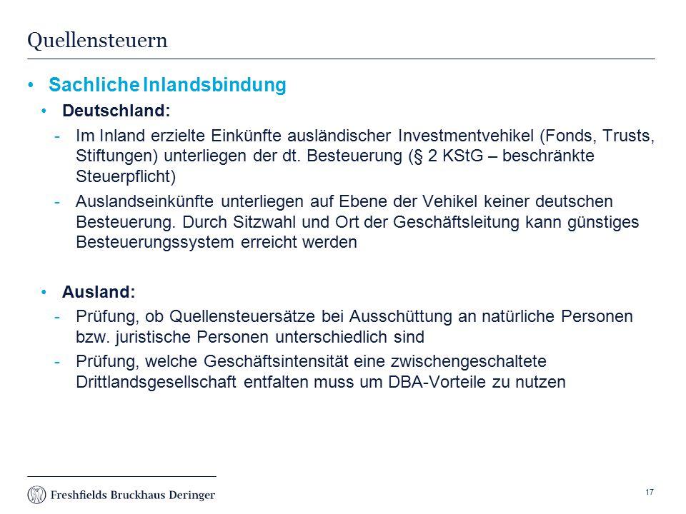 Quellensteuern Sachliche Inlandsbindung Deutschland: