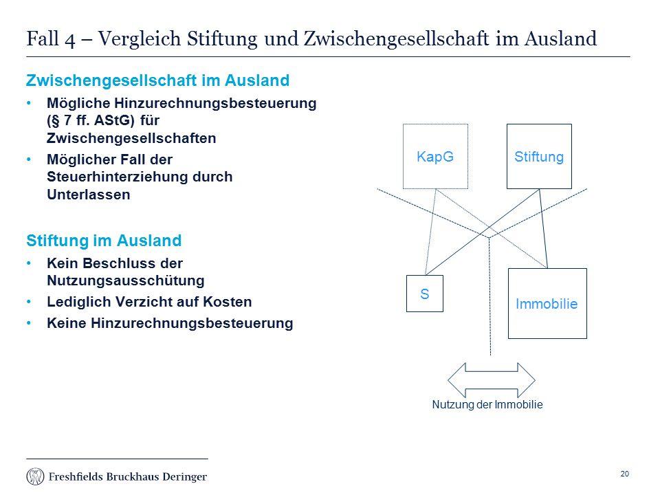 Fall 4 – Vergleich Stiftung und Zwischengesellschaft im Ausland