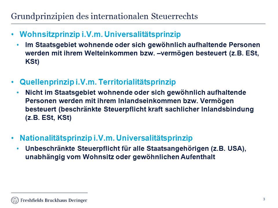 Grundprinzipien des internationalen Steuerrechts
