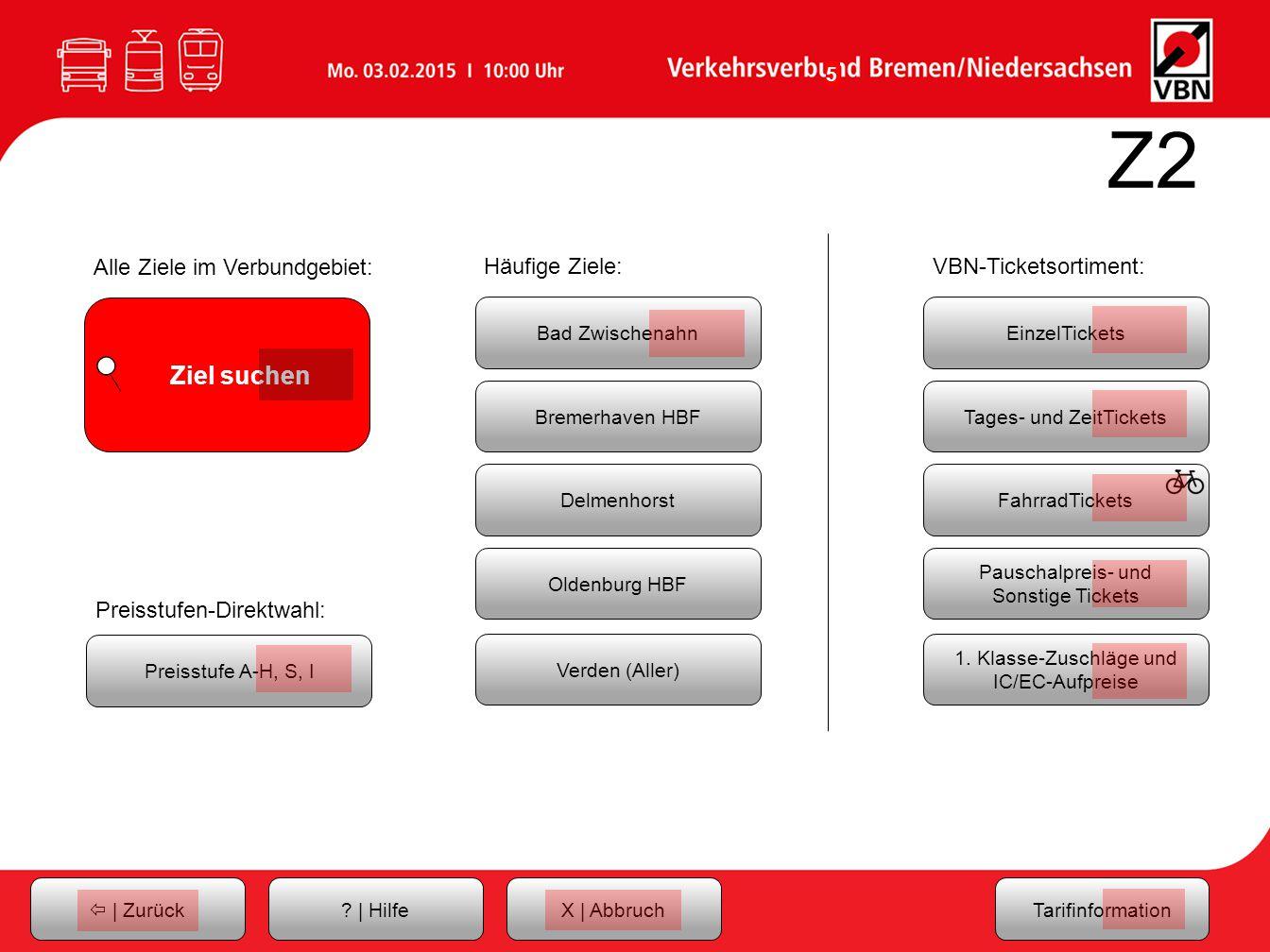 Z2 Alle Ziele im Verbundgebiet: Häufige Ziele: VBN-Ticketsortiment:
