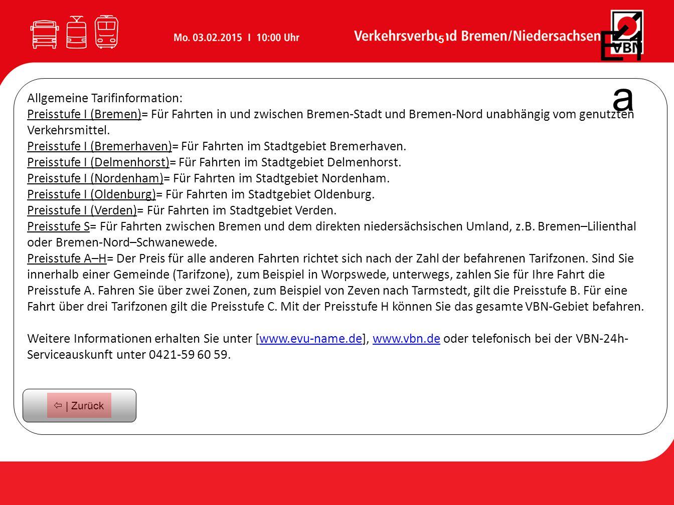 E1a Allgemeine Tarifinformation:
