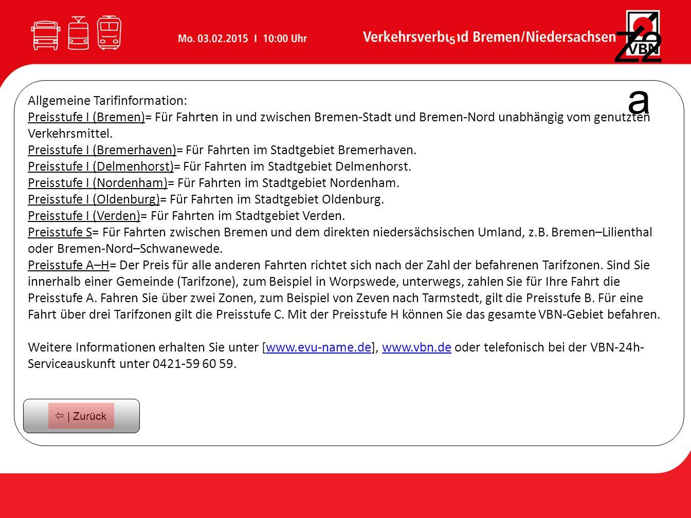 Z2a Allgemeine Tarifinformation: