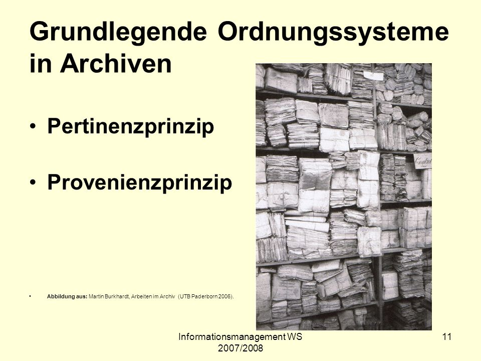 Grundlegende Ordnungssysteme in Archiven