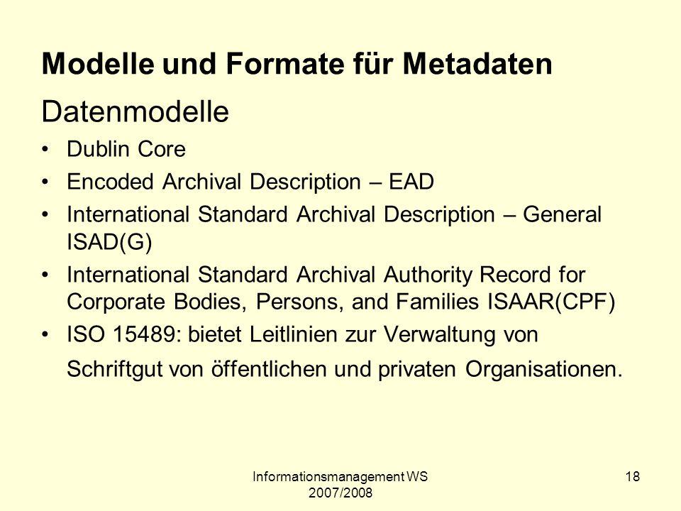 Modelle und Formate für Metadaten