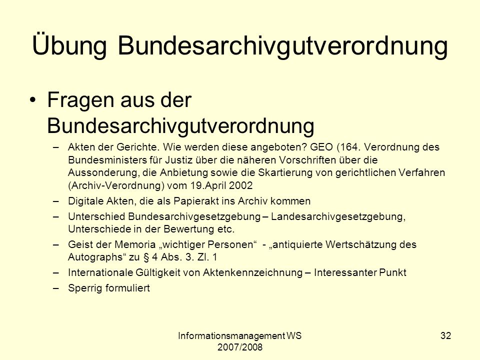 Übung Bundesarchivgutverordnung