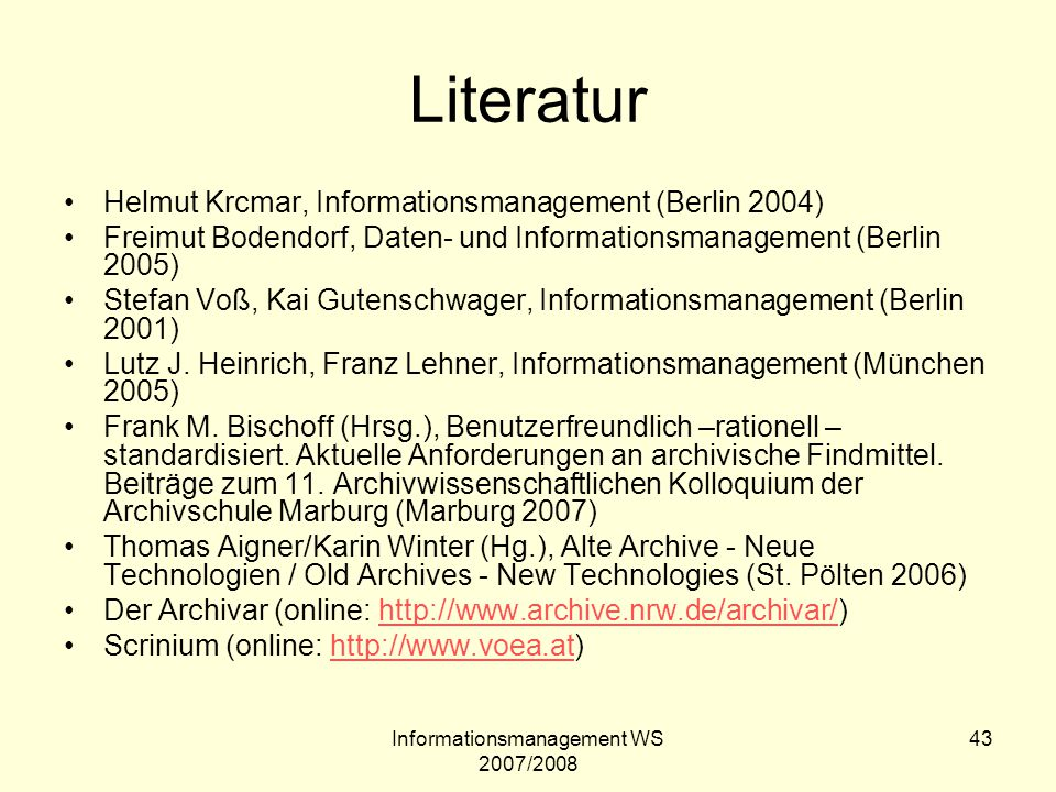 Informationsmanagement WS 2007/2008