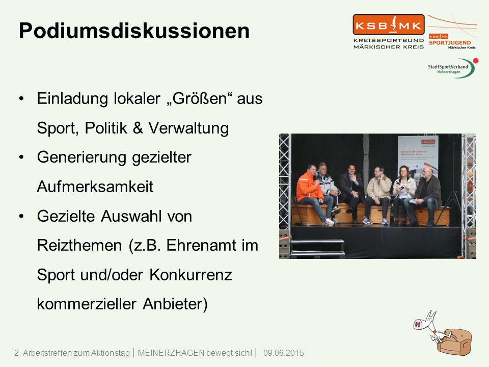 """Podiumsdiskussionen Einladung lokaler """"Größen aus Sport, Politik & Verwaltung. Generierung gezielter Aufmerksamkeit."""