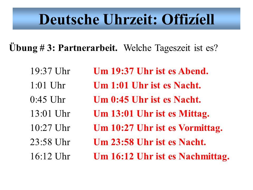 Deutsche Uhrzeit: Offizíell