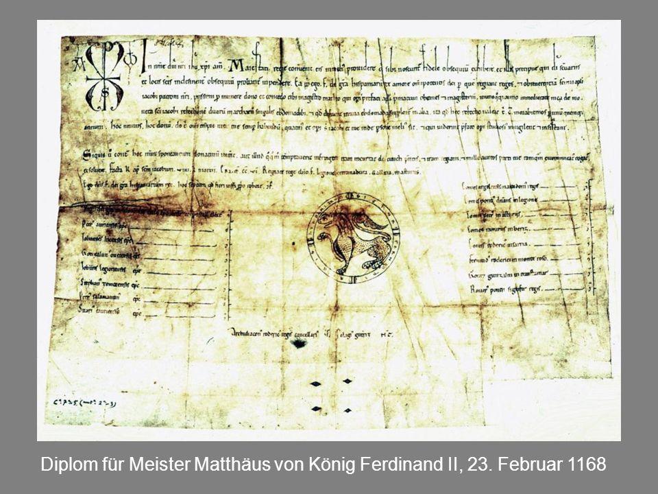 Diplom für Meister Matthäus von König Ferdinand II, 23. Februar 1168