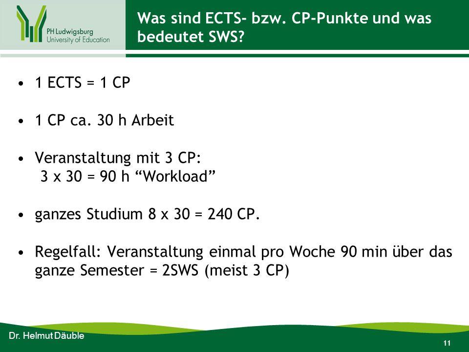 Was sind ECTS- bzw. CP-Punkte und was bedeutet SWS