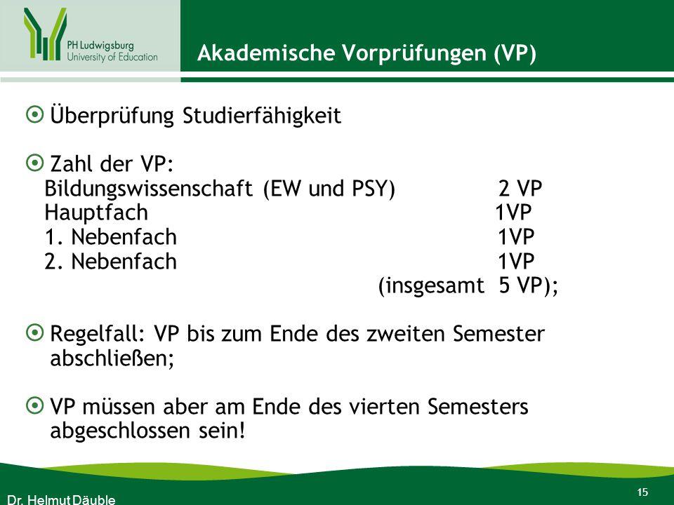 Akademische Vorprüfungen (VP)