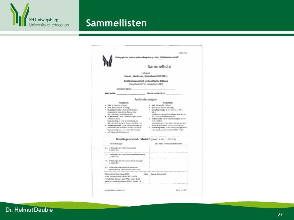 Sammellisten Dr. Helmut Däuble