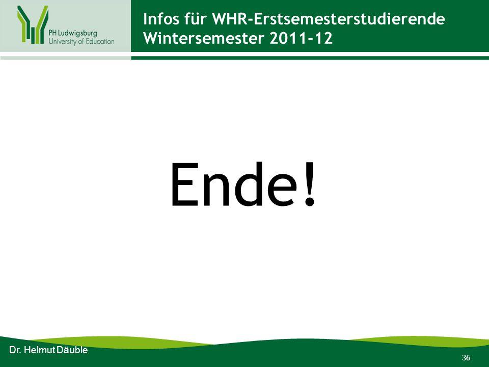 Infos für WHR-Erstsemesterstudierende Wintersemester 2011-12