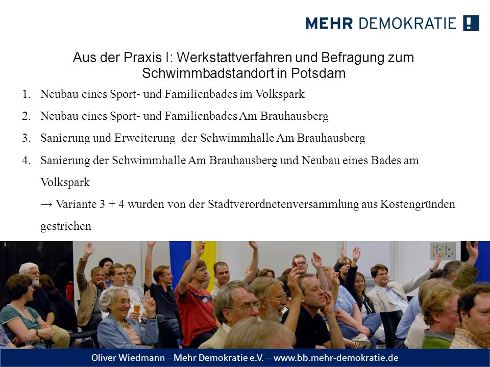 Aus der Praxis I: Werkstattverfahren und Befragung zum Schwimmbadstandort in Potsdam
