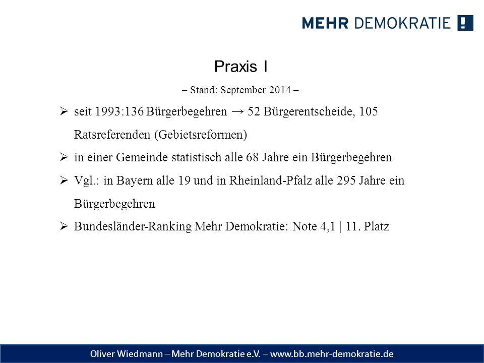 Praxis I – Stand: September 2014 – seit 1993:136 Bürgerbegehren → 52 Bürgerentscheide, 105 Ratsreferenden (Gebietsreformen)