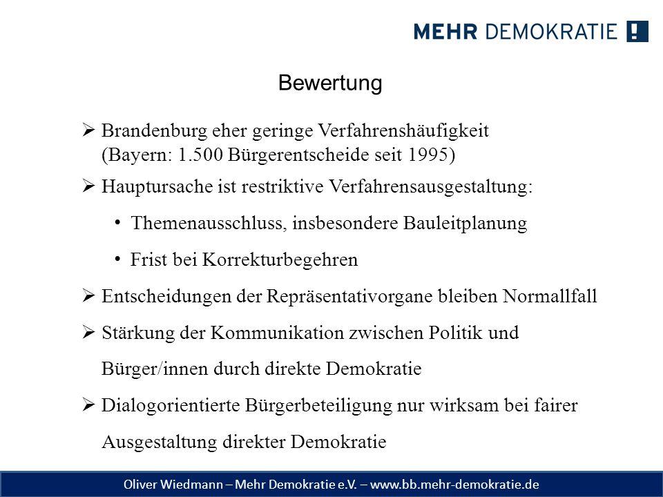 Bewertung Brandenburg eher geringe Verfahrenshäufigkeit