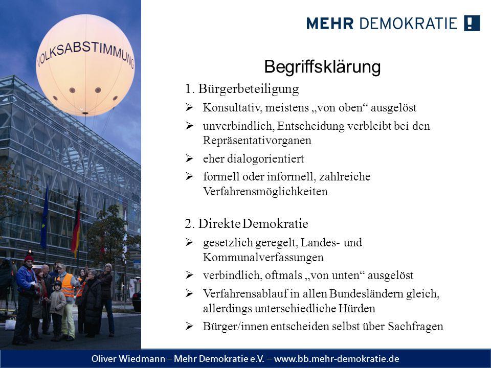 Begriffsklärung 1. Bürgerbeteiligung 2. Direkte Demokratie