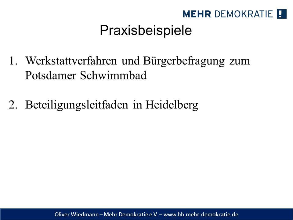 Praxisbeispiele Werkstattverfahren und Bürgerbefragung zum Potsdamer Schwimmbad. Beteiligungsleitfaden in Heidelberg.