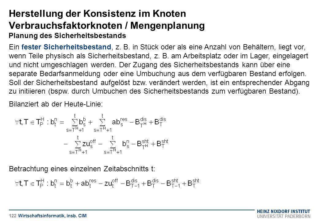 Herstellung der Konsistenz im Knoten Verbrauchsfaktorknoten / Mengenplanung Planung des Sicherheitsbestands