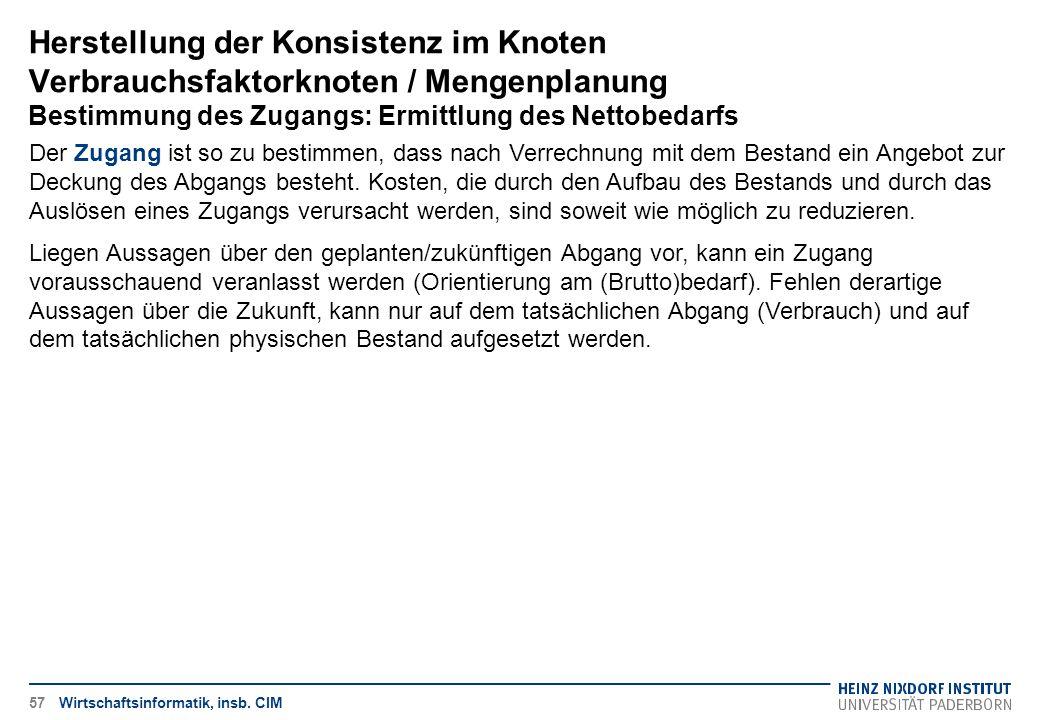 Herstellung der Konsistenz im Knoten Verbrauchsfaktorknoten / Mengenplanung Bestimmung des Zugangs: Ermittlung des Nettobedarfs