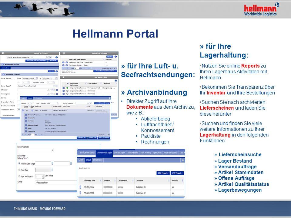 Hellmann Portal » für Ihre Lagerhaltung: