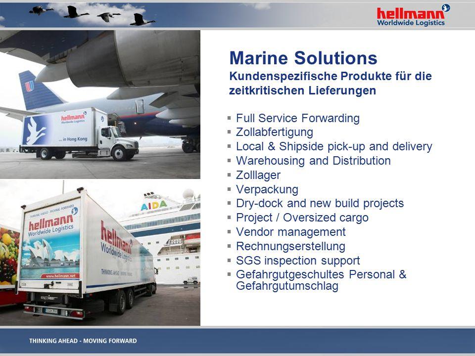 Marine Solutions Kundenspezifische Produkte für die zeitkritischen Lieferungen