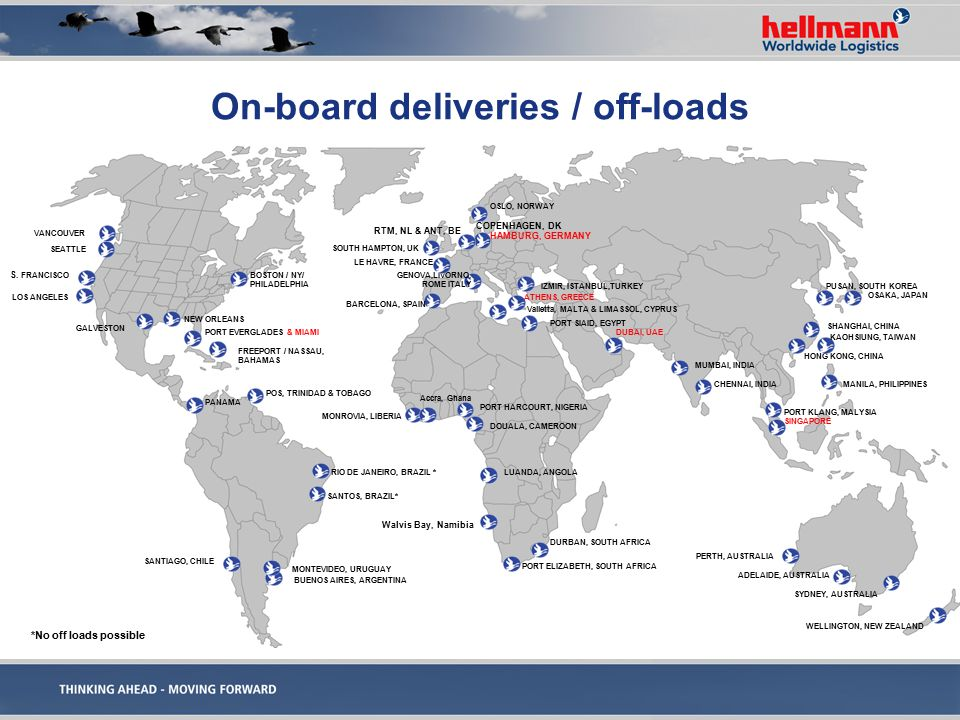 On-board deliveries / off-loads