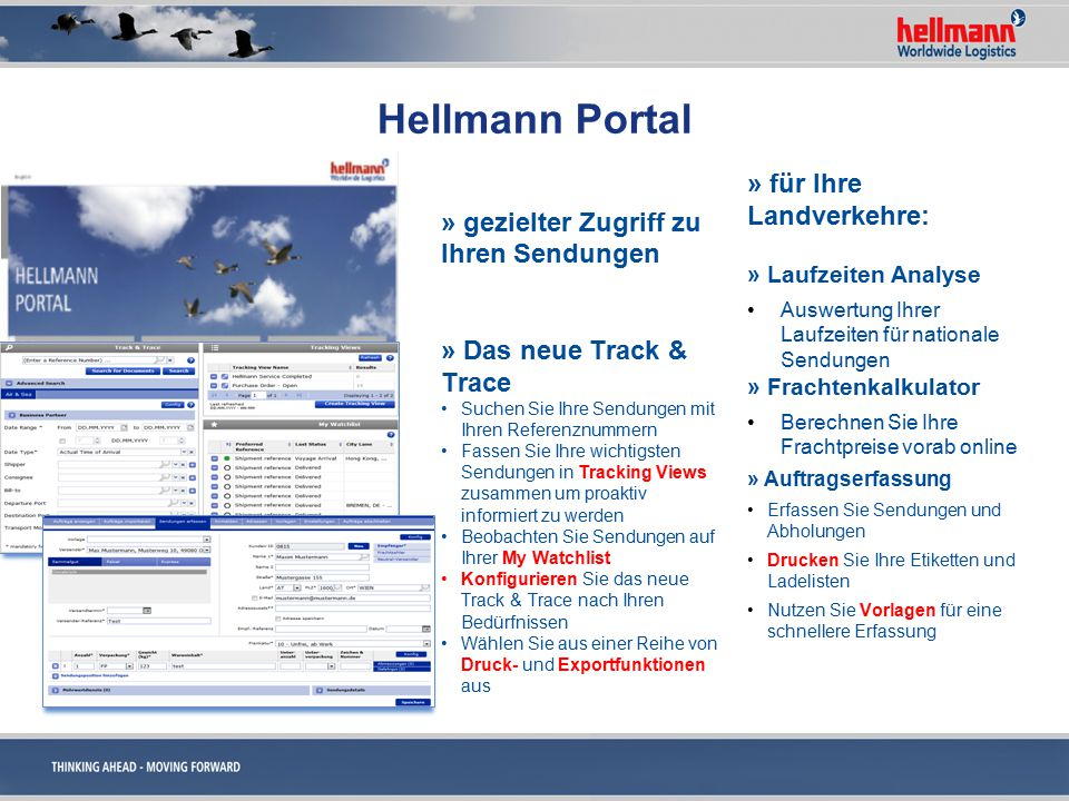 Hellmann Portal » für Ihre Landverkehre: