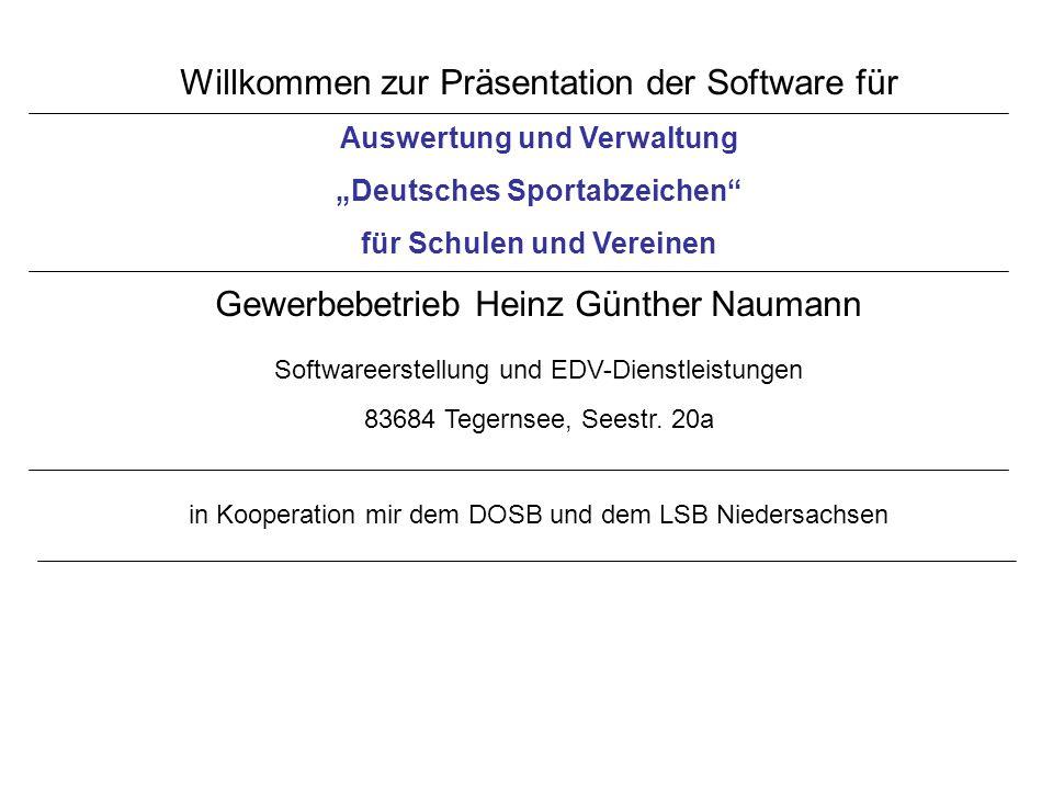 Willkommen zur Präsentation der Software für