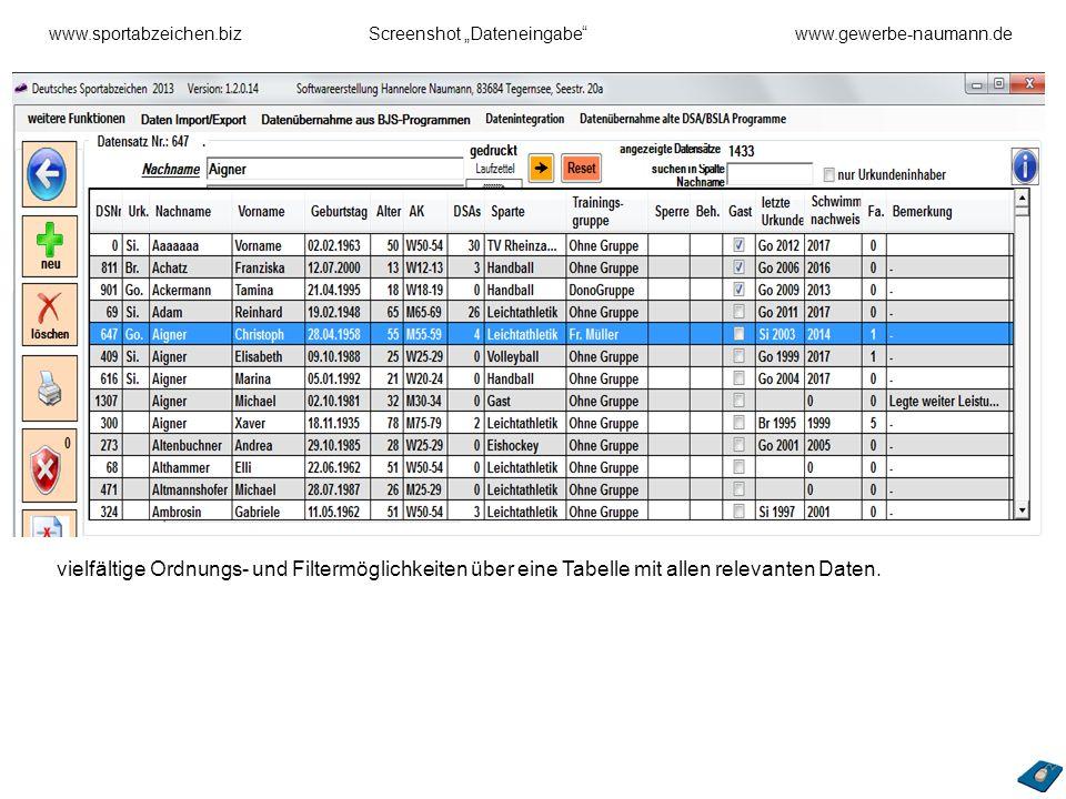 "www. sportabzeichen. biz. Screenshot ""Dateneingabe . www"