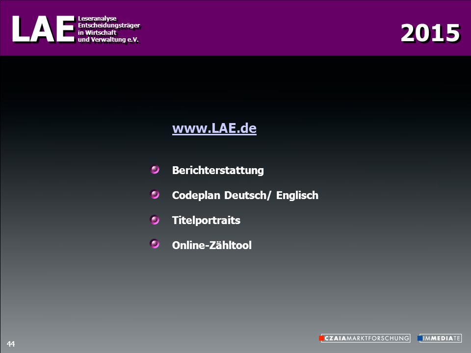 www.LAE.de Berichterstattung Codeplan Deutsch/ Englisch Titelportraits