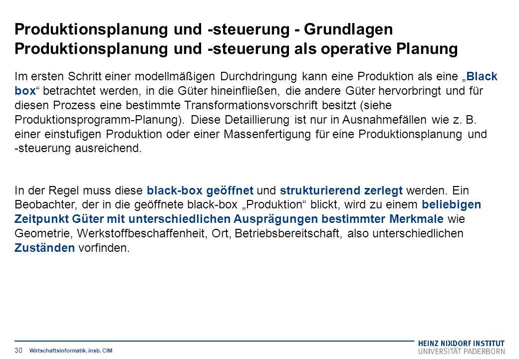 Produktionsplanung und -steuerung - Grundlagen Produktionsplanung und -steuerung als operative Planung