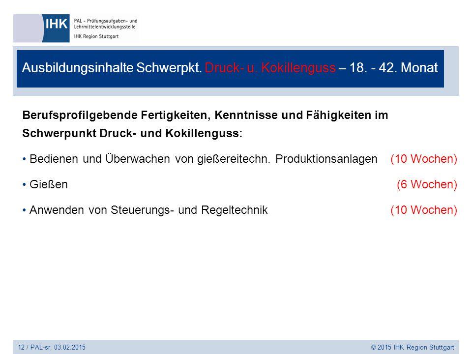 Ausbildungsinhalte Schwerpkt. Druck- u. Kokillenguss – 18. - 42. Monat